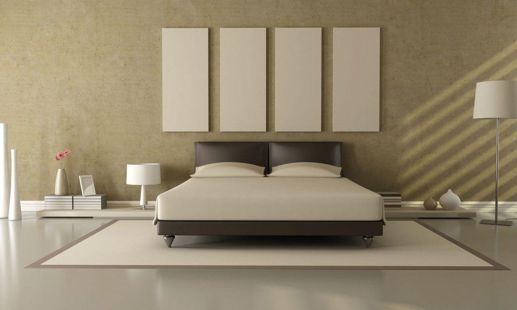 dormitorio con suelo de Microcemento