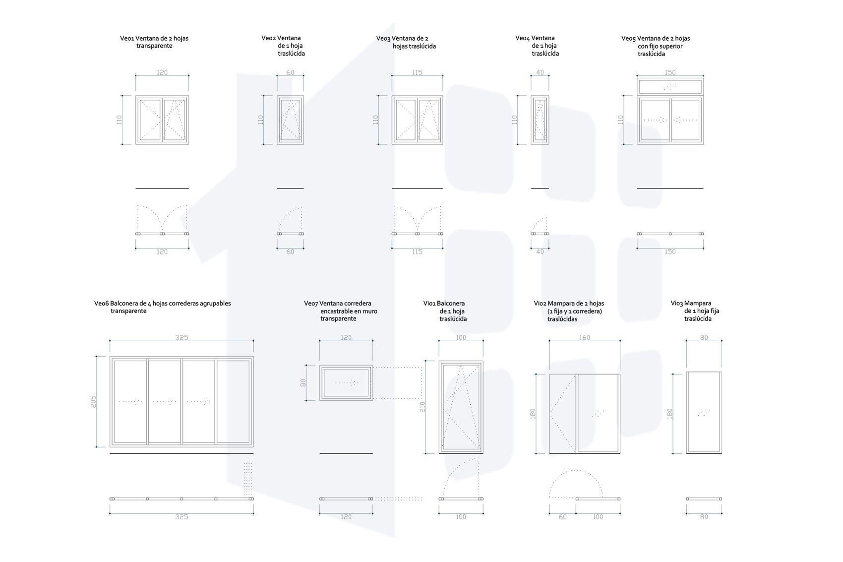 Plano de ventanas. Proyecto reforma ático Alicante por Araque Maqueda