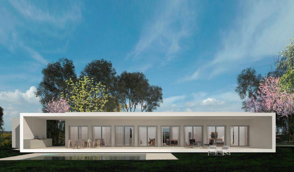 render fachada de proyecto de chalet en Hondón de las Nieves (Alicante) por Araque Maqueda