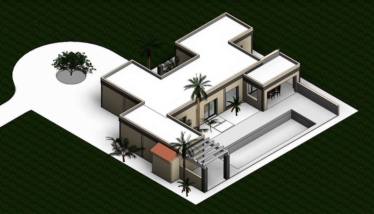 Render de proyecto de vivienda de estilo mediterráneo por Araque Maqueda