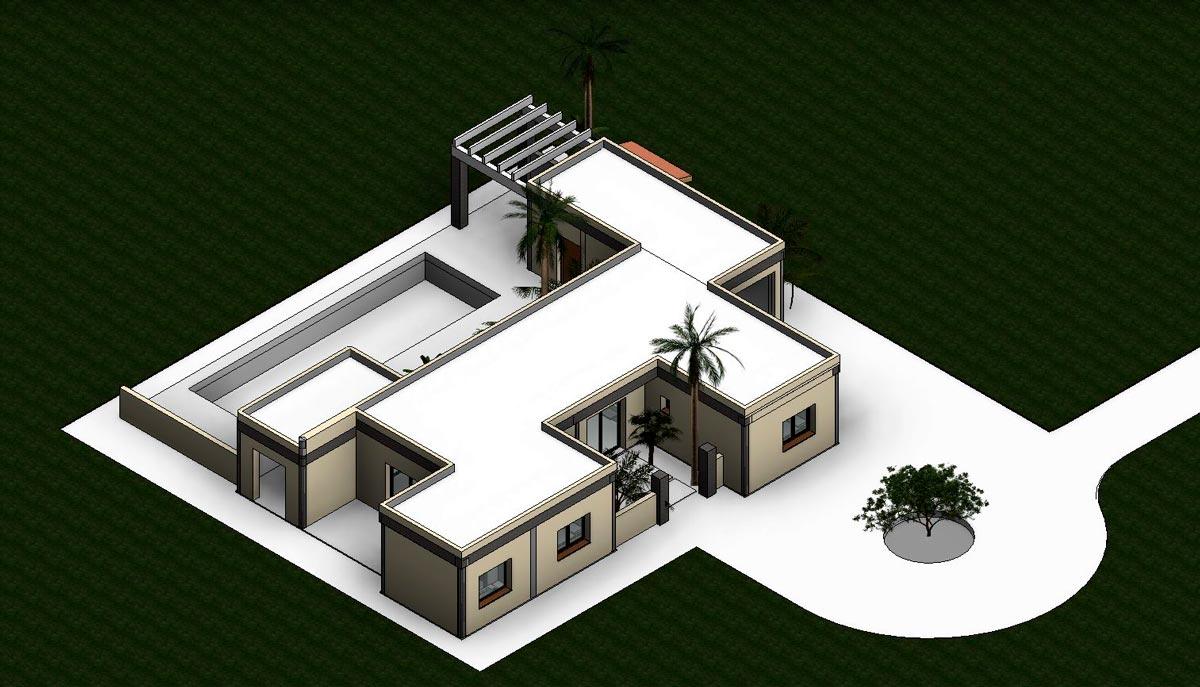 Render exterior de proyecto de vivienda de estilo mediterráneo por Araque Maqueda
