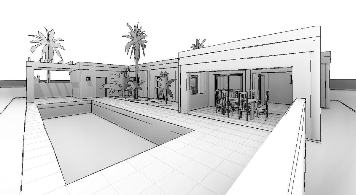 esquema 3d de proyecto de vivienda de estilo mediterráneo por Araque Maqueda