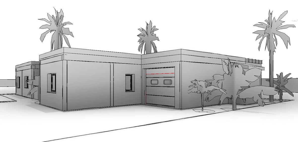 Vista 3d de proyecto de vivienda de estilo mediterráneo por Araque Maqueda
