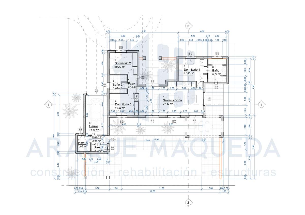 Planos de proyecto de vivienda de estilo mediterráneo por Araque Maqueda